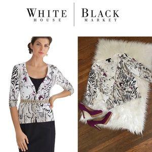WHBM Mixed Floral & Snake Print Cardigan